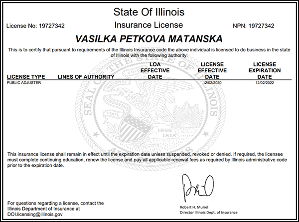 Omnia Consulting LLC Vasilka Matanska License